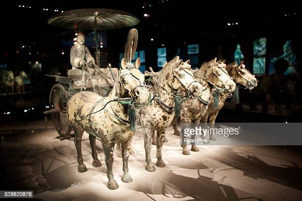 Horses pull a chariot in the Terracotta Warriors Museum just outside of Xian The Terracotta Warriors and Horses are the most significant...