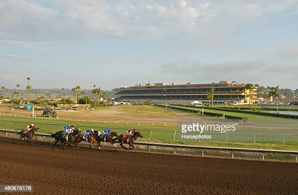 Horses race down backstretch at Del Mar Race Track August 8 2004