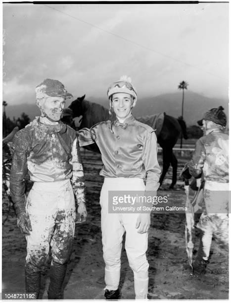 Horses race Santa Anita 4 February 1958 Jockey A ValenzuelaJockey W BolandJockey Alex Maese 'Sports' Caption slip reads 'Photographer Rustan Date...