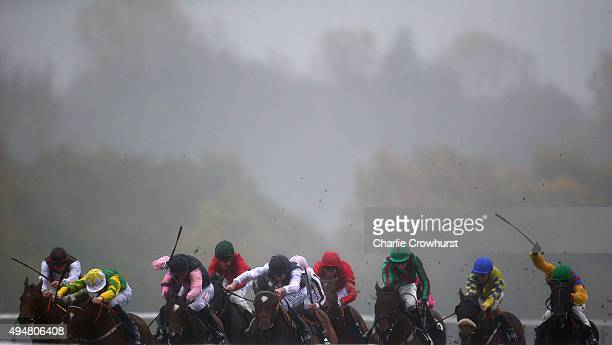 Horses run during the Coral Handicap Stakes at Lingfield Park on October 29 2015 in Lingfield England