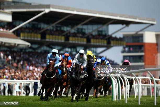 Horses run in The JLT Cup at Newbury Racecourse on July 21 2018 in Newbury United Kingdom