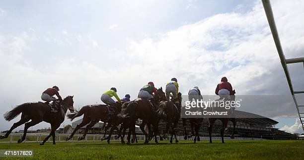 Horses set off at the start of The Longines Sagaro Stakes at Ascot racecourse on April 29 2015 in Ascot England