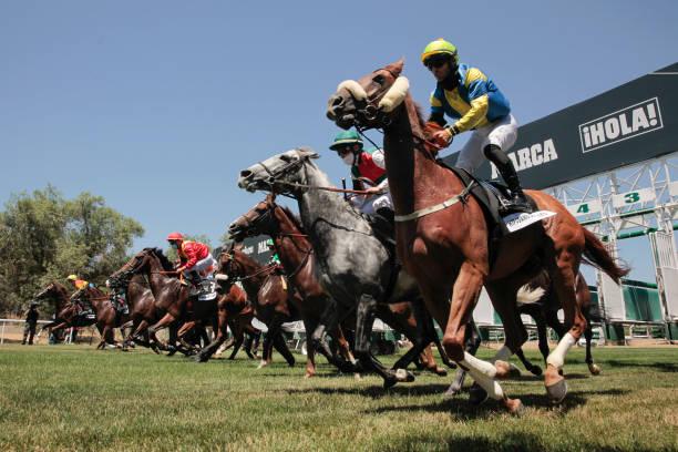 ESP: Horse Races Open To Public At Zarzuela Racecourse
