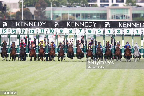Horses start in race 8 The Kennedy Oaks during Oaks Day at Flemington Racecourse on November 08 2018 in Melbourne Australia