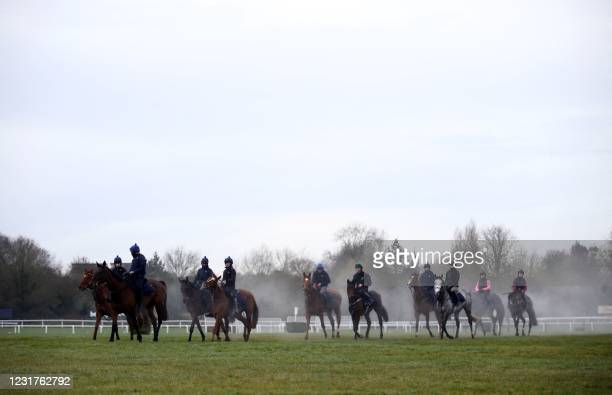 Horses trained by Denise Foster on the gallops ahead of Day Two of the Cheltenham Festival at Cheltenham Racecourse, in Cheltenham, England on March...