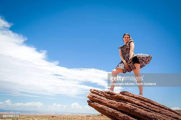 horseshoe bend, arizona - skirt blowing stock photos and pictures