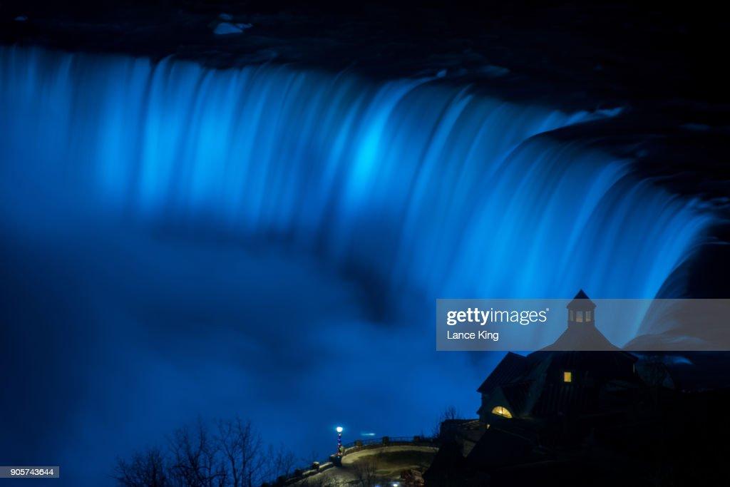 Horseshoe Falls At Niagara Falls Lit With Artificial Light