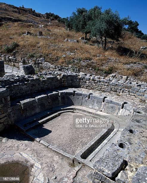 Horseshoeshaped communal toilet Baths of the Cyclops ancient Roman city of Thugga or Dougga Tunisia Roman Civilisation 2nd4th century