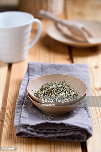 Horsetail, Equisetum arvense, Herbal tea in a bowl