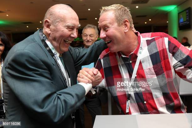 Horst Eckel and Juergen Mohr at the club of former national players meeting prior to / after the FIFA 2018 World Cup Qualifier between Germany and...