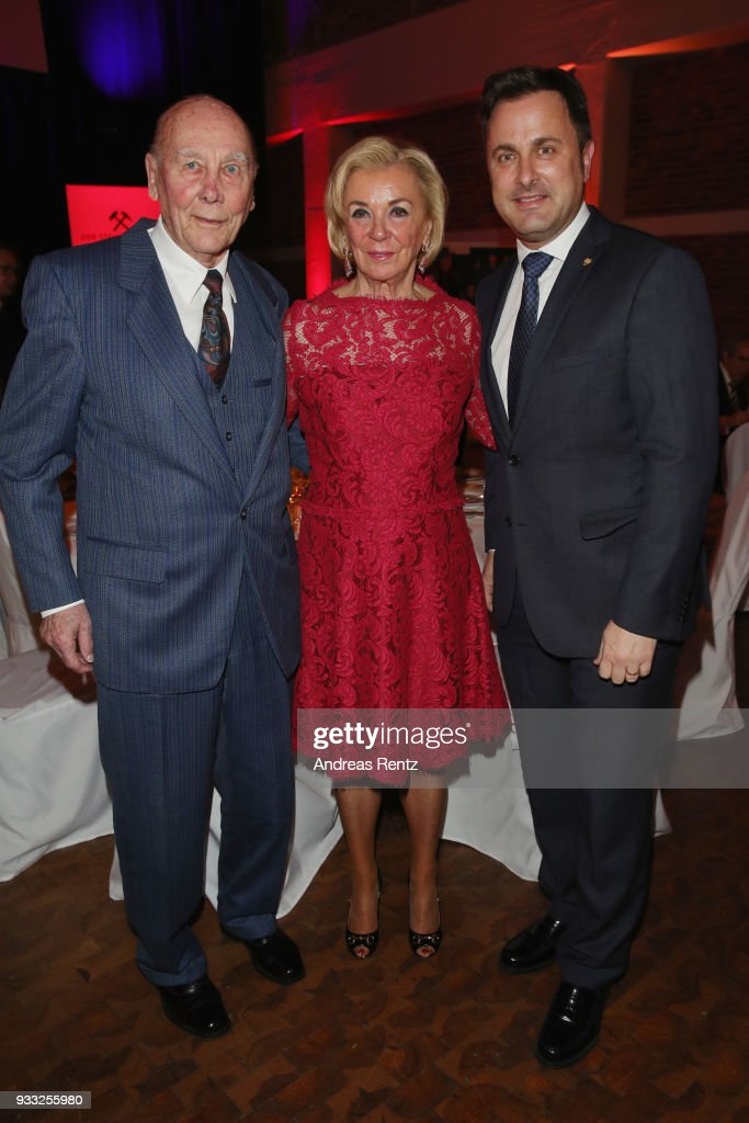 Horst Eckel, Liz Mohn and Luxembourg Prime Minister Xavier Bettel attend the Steiger Award at Zeche Hansemann on March 17, 2018 in Dortmund, Germany.