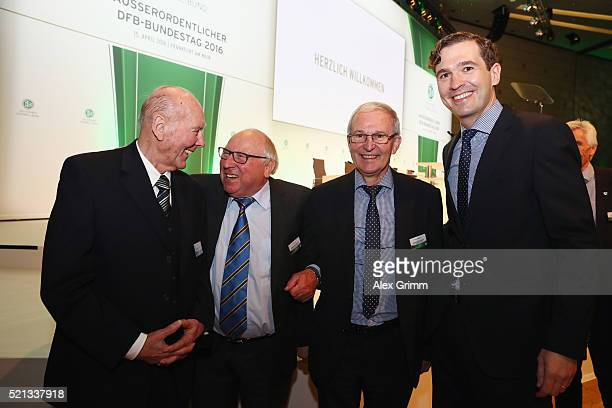 Horst Eckel Uwe Seeler DFB Vice President Rainer Milkoreit and Secretary General Friedrich Curtius pose during the extraordinary DFB Bundestag at...