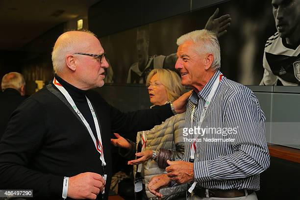 Horst Heese and Erich Ribbeck members of the Club of Former National Players are seen prior to the EURO 2016 Qualifier match between Germany and...