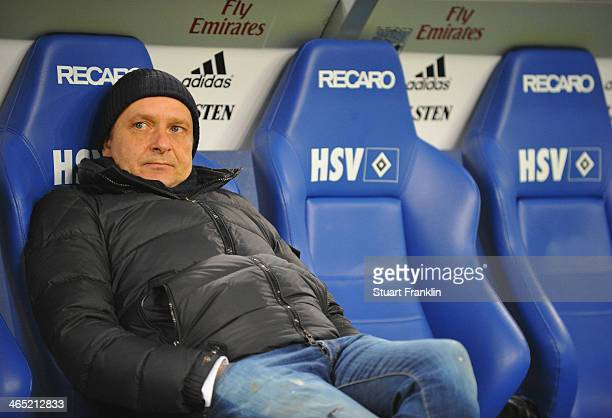 Horst Held manager of Schalke looks on during the Bundesliga match between Hamburger SV and FC Schalke 04 at Imtech Arena on January 26 2014 in...