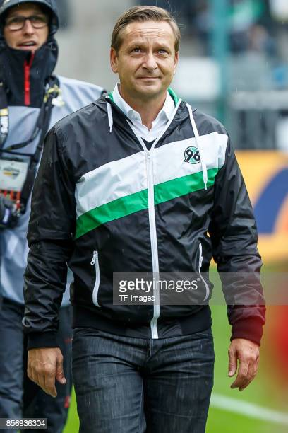 Horst Heldt of Hannover looks on during the Bundesliga match between Borussia Moenchengladbach and Hannover 96 at BorussiaPark on September 30 2017...