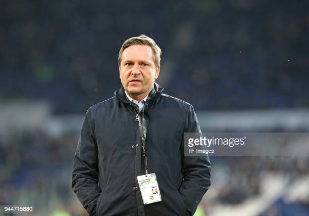 Horst Heldt of Hannover looks on prior to the Bundesliga match between Hannover 96 and Werder Bremen at HDI Arena on April 06 2018 in Hannover Germany