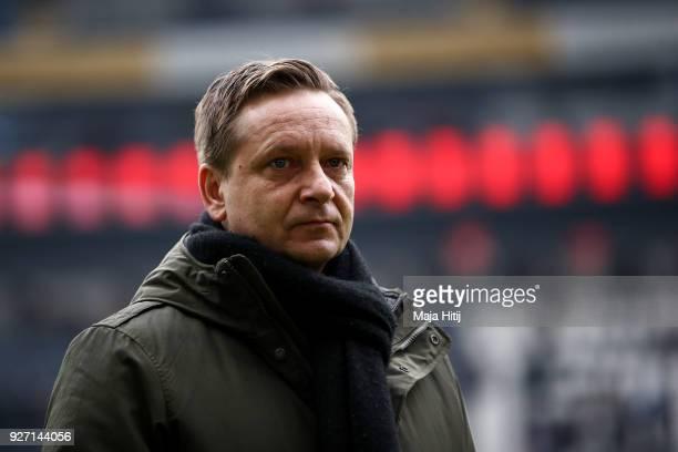 Horst Heldt sporting director of Hannover looks on prior the Bundesliga match between Eintracht Frankfurt and Hannover 96 at CommerzbankArena on...