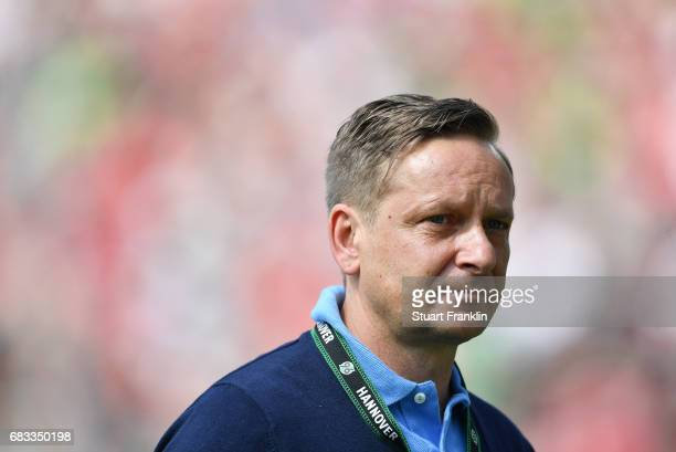 Horst Heldt sports director of Hannover looks on during the Second Bundesliga match between Hannover 96 and VfB Stuttgart at HDIArena on May 14 2017...