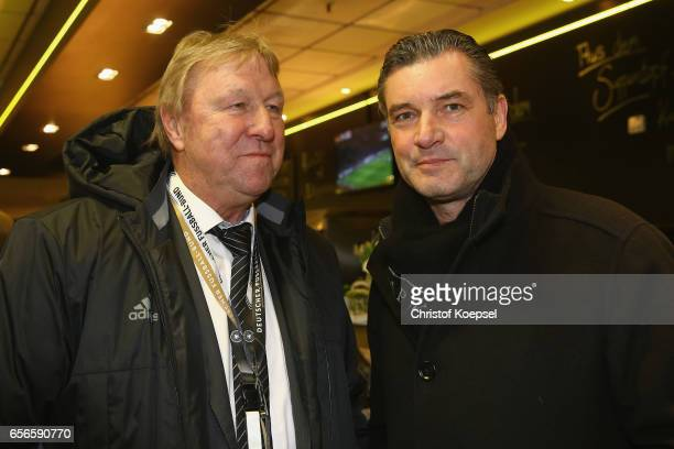 Horst Hrubesch and Michael Zorc pose during the Club of Former National Players Meeting at Signal Iduna Park on March 22 2017 in Dortmund Germany