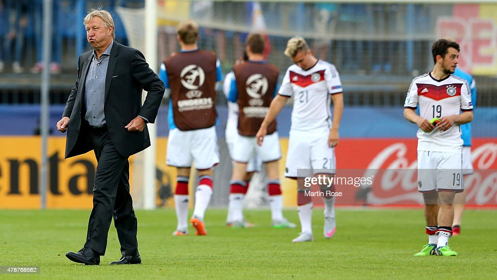 Horst Hrubesch, head coach Germany reacts after the UEFA European Under-21 semi final match Between Portugal and Germany at Ander Stadium on June 27, 2015 in Olomouc, Czech Republic.