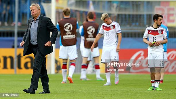 Horst Hrubesch head coach Germany reacts after the UEFA European Under21 semi final match Between Portugal and Germany at Ander Stadium on June 27...