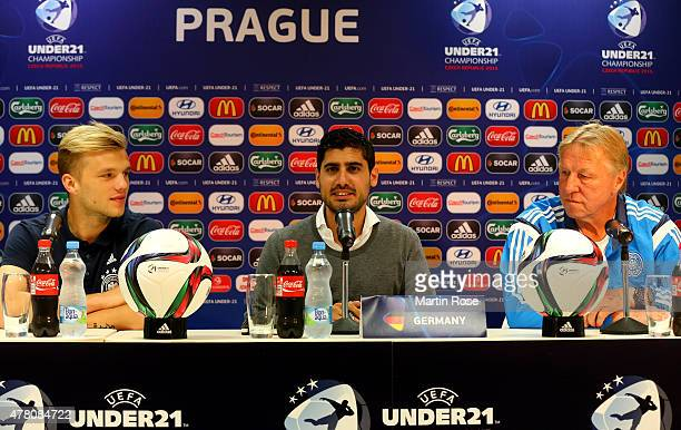 Horst Hrubesch head coach of Germany and Johannes Geis attend a UEFA press conference ahead of the UEFA European Under21 Group A match against Czech...