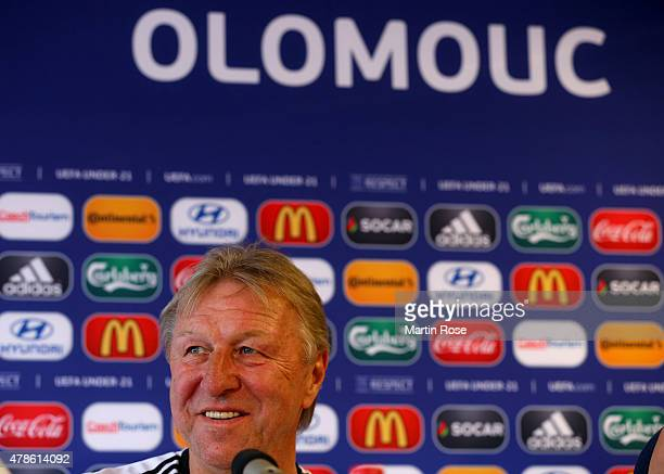 Horst Hrubesch head coach of Germany attends a press conference ahead of the UEFA European Under21 semi final match against Portugal at Ander Stadium...