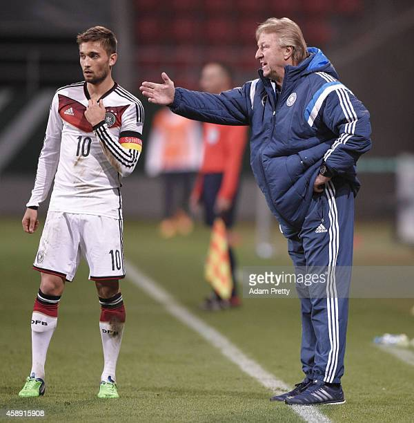 Horst Hrubesch head coach of Germany gives instructions to Moritz Leitner of Germany during the U21 Germany v U21 Netherlands International Friendly...