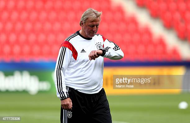Horst Hrubesch head coach of Germany looks on during a training session ahead of the EURO 2015 Group A match against Denmark at Eden stadium on June...
