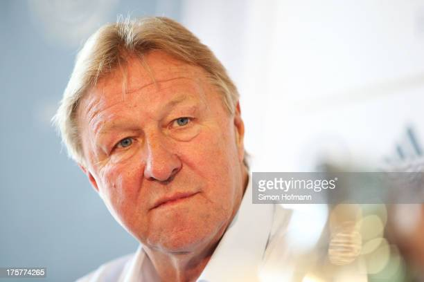 Horst Hrubesch head coach of the German U21 national football team attends a Germany press conference at the DFB headquarters on August 8 2013 in...
