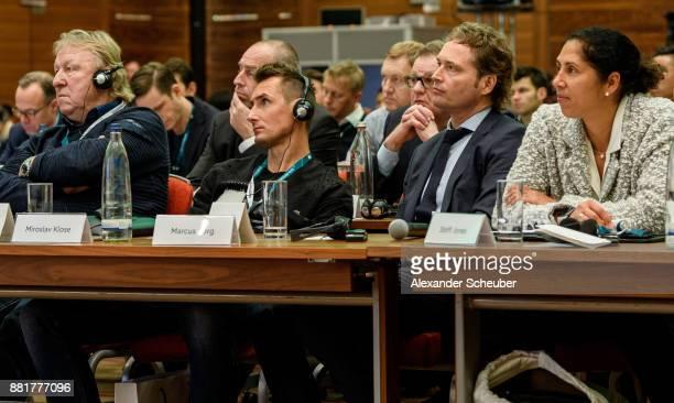 Horst Hrubesch Miroslav Klose Marcus Sorg and Steffi Jones attend the 1st international DFB congress on match analysis on November 29 2017 in...