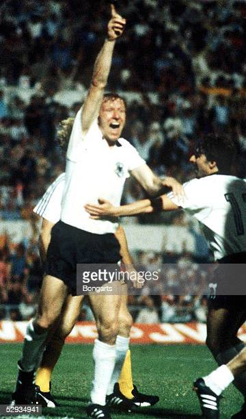 Horst Hrubesch of Germany celebrates after scoring his teams second goal during the UEFA European Championship Final between Germany and Belgium at...