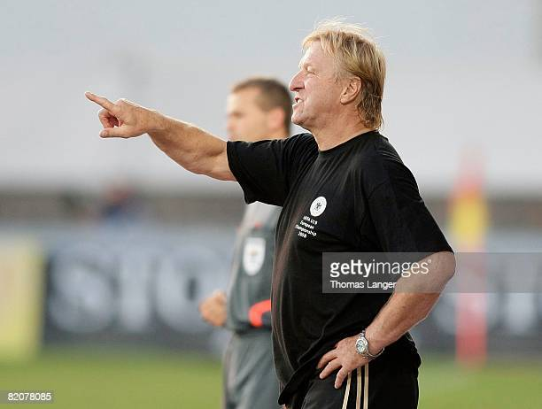 Horst Hrubesch of Germany gestures during the U19 European Championship final match between Germany and Italy at the Strelnice stadium on July 26,...