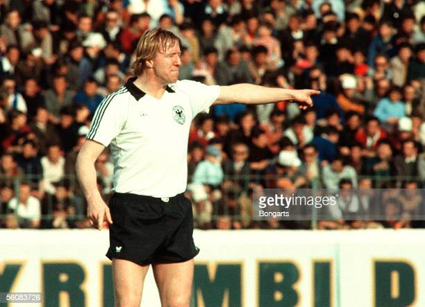 Horst Hrubesch of Germany gestures during the World Cup Qualifying match between Albania and Germany on April 01 1981 in Tirana Albania