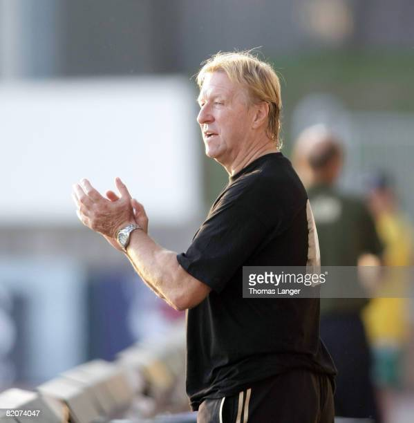 Horst Hrubesch of Germany reacts during the U19 European Championship final match between Germany and Italy on July 26, 2008 in Jablonec nad Nisou,...