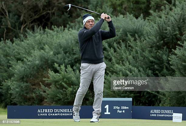 Horst Kaymer of Germany Martin Kaymer's father plays his tee shot at the first hole during the second round of the Alfred Dunhill Links Championship...
