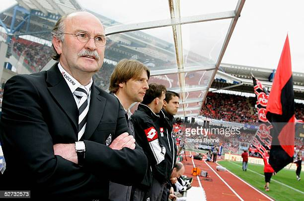 Horst Koeppel, the new coach of Borussia Monchengladbach, watches his team during the Bundesliga match between 1.FC Nuremberg and Borussia...