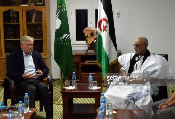 Horst Kohler the new UN envoy for the disputed territory of Western Sahara meets with Brahim Ghali Polisario secretary general and president of the...