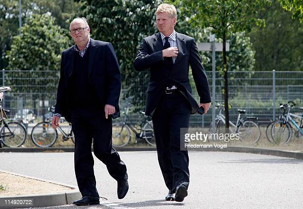 Horst Köppel and Stefan Effenberg arrive at the Borussia M'Gladbach annual general meeting at Borussia Park Stadium on May 29 2011 in...
