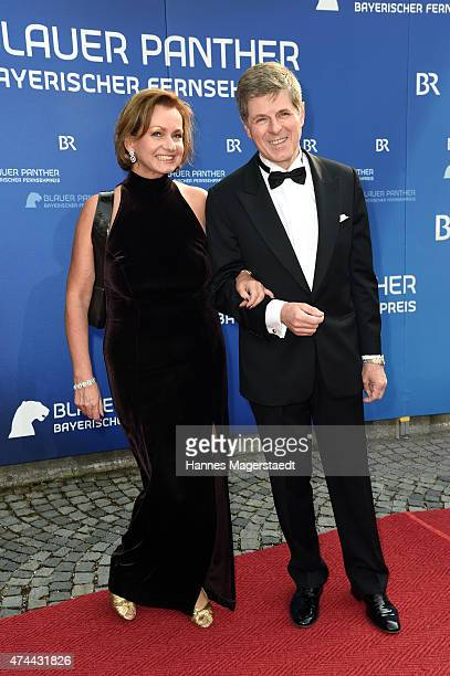 Horst Kummeth and his wife Eva Kummeth arrive for the Bayerischer Fernsehpreis 2015 at Prinzregententheater on May 22 2015 in Munich Germany