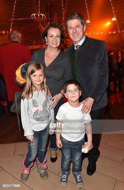 Horst Kummeth and his wife Eva Kummeth with their grandchildren during the 'Circus Krone Christmas Show 2015' at Circus Krone on December 25 2015 in...