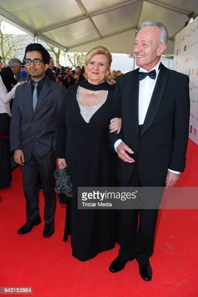 Horst Naumann his wife Martina LinnNaumann and their adoptive son Leon attend the 'Goldene Sonne 2018' Award by SonnenklarTV on April 7 2018 in...