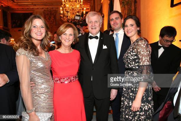 Horst Seehofer and his wife Karin Seehofer daughter Susanne Seehofer daughter Ulrike Seehofer and son Andreas Seehofer during the new year reception...