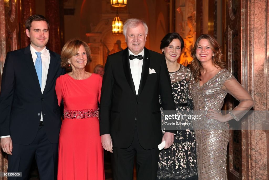 Horst Seehofer and his wife Karin Seehofer, daughter Ulrike Seehofer and Susanne Seehofer and son Andreas Seehofer (L) during the new year reception (Neujahrsempfang) of the Bavarian state government at Residenz on January 12, 2018 in Munich, Germany.