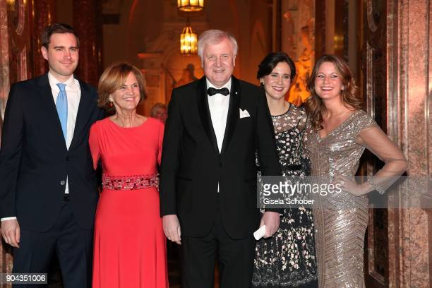 Horst Seehofer and his wife Karin Seehofer daughter Ulrike Seehofer and Susanne Seehofer and son Andreas Seehofer during the new year reception of...