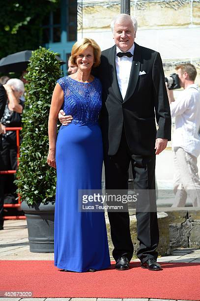 Horst Seehofer and Karin Seehofer attend the Bayreuth Festival opening on July 25 2014 in Bayreuth Germany