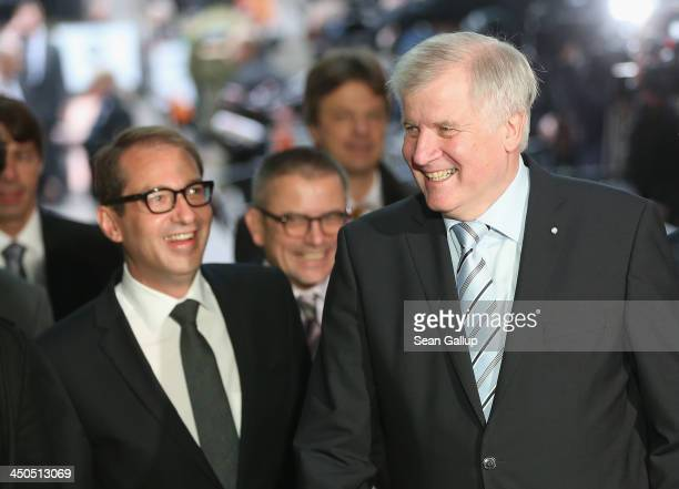 Horst Seehofer Chairman of the Bavarian Christian Democrats and CSU General Secretary Alexander Dobrindt arrive at the headquarters of the German...