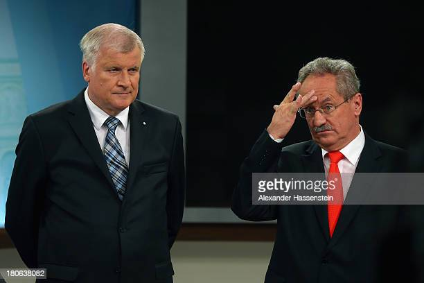 Horst Seehofer Chairman of the Bavarian Christian Democrats attends a TV interview with Christian Ude Mayor of Munich member of the German Social...
