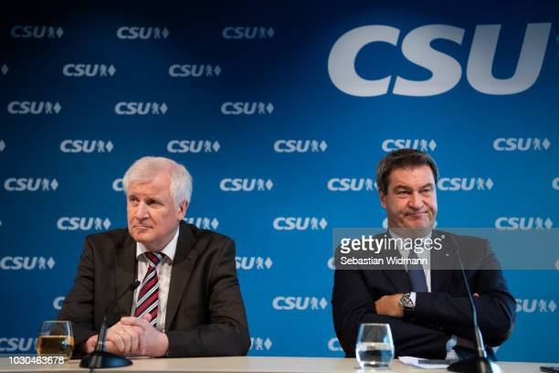 Horst Seehofer, Chairman of the Bavarian Social Union and also German Minister of the Interior, and Markus Soeder, Bavarian Governor and lead CSU...