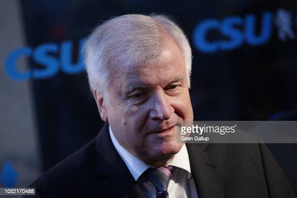 Horst Seehofer Chairman of the Christian Social Union speaks to the media as he arrives for a meeting of the CSU leadership at party headquarters on...